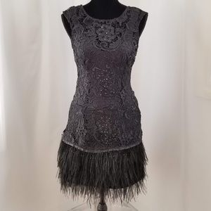 Feather-trimmed Lace Mini Dress
